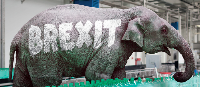Elephant in manufacturing plant with Brexit written on it