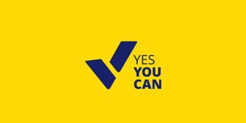 words yes you can on yellow background