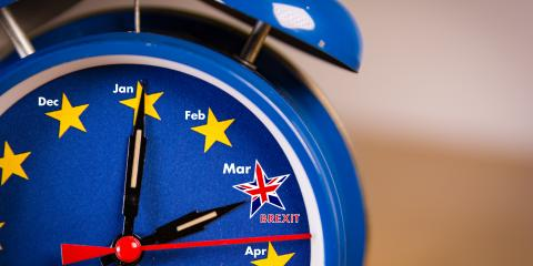 Blue clock with stars for Brexit