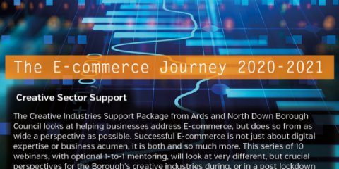E-Commerce Journey written over an image of coding