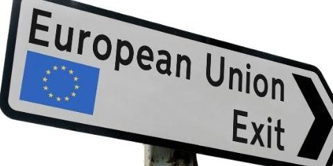 Signpost which says Eu exit