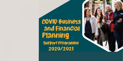 COVID Financial Planning Grant written over green background. Image with a walking tour on right hand side