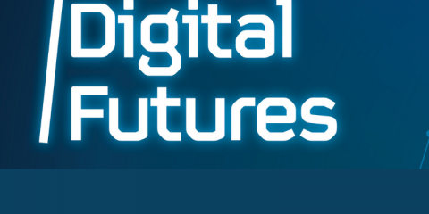 Digital futures written on blue background